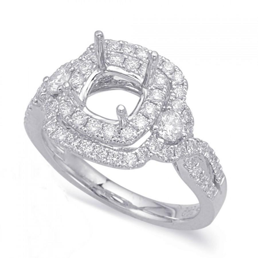 Wedding - 1.00 Carat Forever One Moissanite & Diamond Double Halo Engagement, 6.5mmMoissanite (optional), Engagement Rings for Women, Womens Rings - $2599.00 USD