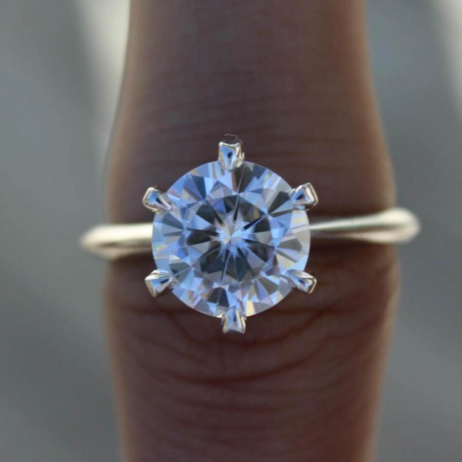 2 50 Carat Round Forever One Moissanite Tiffany Style Six
