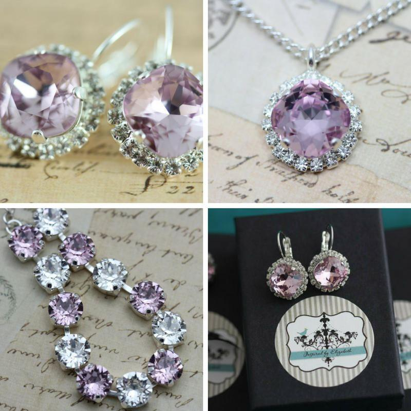 Свадьба - Lilac Jewelry Set Lilac Purple Bracelet Necklace Earring Set Swarovski Crystal Maid Of Honor Gift Mother of Bride Gift Clip On Also Avail