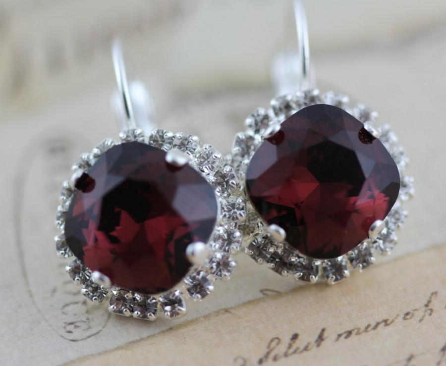 Mariage - Burgundy Earrings Swarovski Crystal Earrings Maroon Bridesmaid Earrings Clip On Avail Maid of Honor Gift Silver Mother of Bride Gift