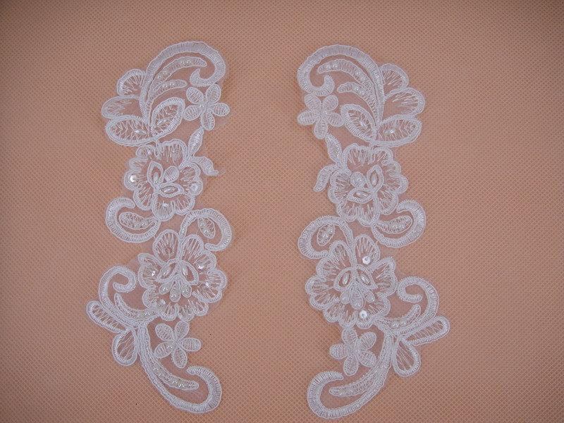 Düğün - Wedding Lace Applique, Lace Applique,Bridal lace Applique,Beaded Wedding Accessory,Ivory Lace Applique Embroidery,Alencon Lace Applique,2pcs