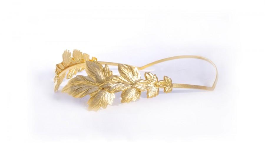 Wedding - Glorious Leaves Greek Tiara, Greek Goddess Headband, Roman Emperor Crown, Gold Leaves Hair Accessories, Bridal Hair Accessory, Fairy Jewelry