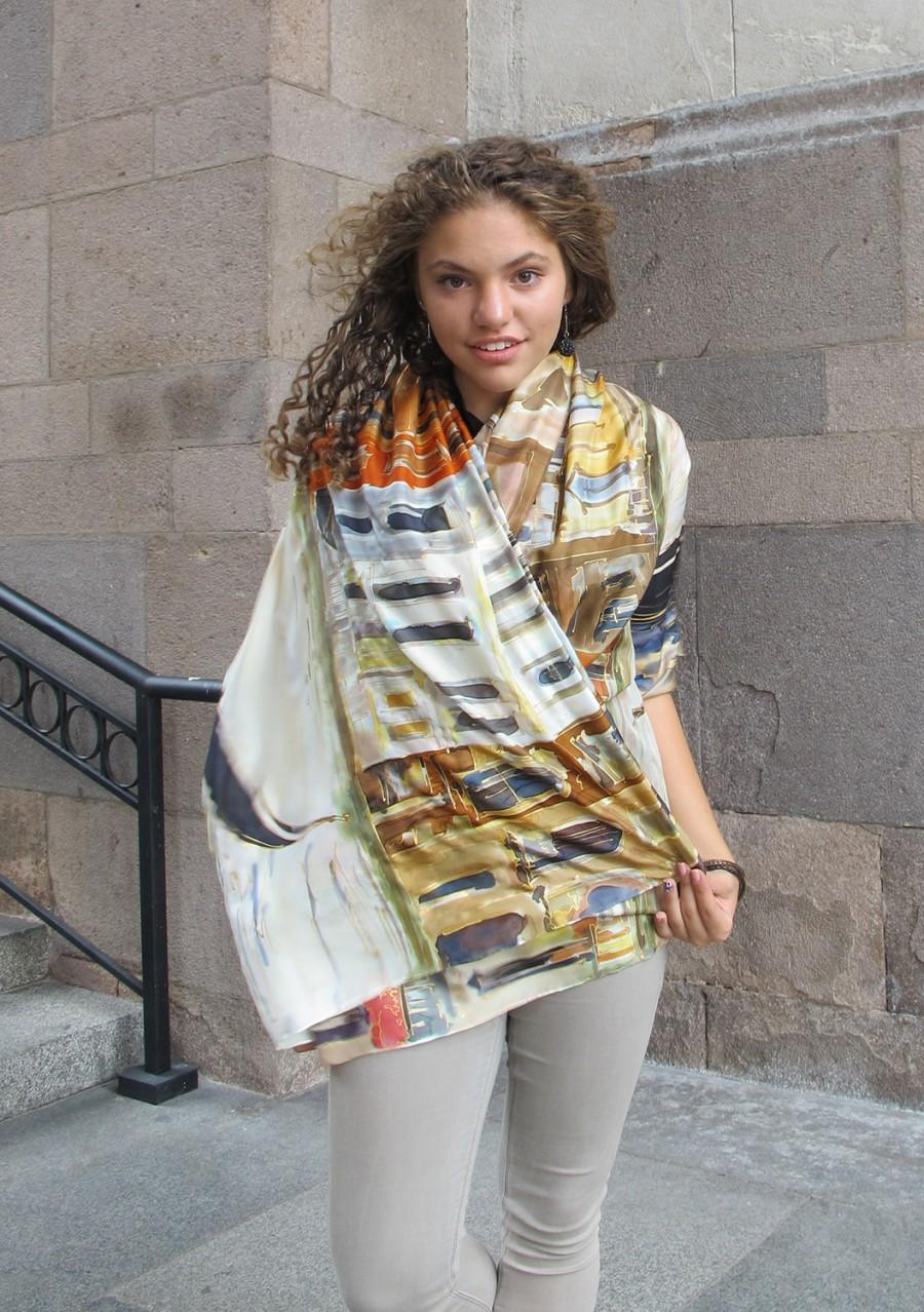 Hochzeit - Unique hand painted silk scarf- Venice Morrow/ Artistic Bridal shawl wrap/ Luxury scarves/ Venice scarf/ Burnt sienna ocher ivory scarf KA17