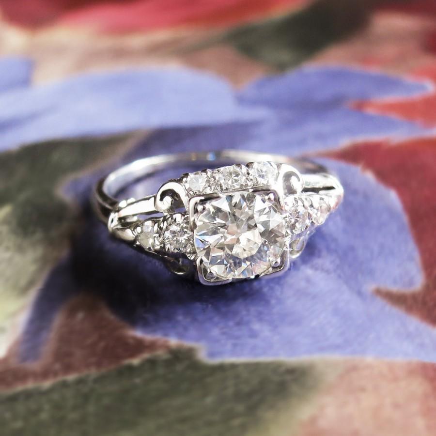 Hochzeit - Art Deco Vintage 1930's GIA Certified Diamond Engagement Wedding Anniversary Ring Platinum