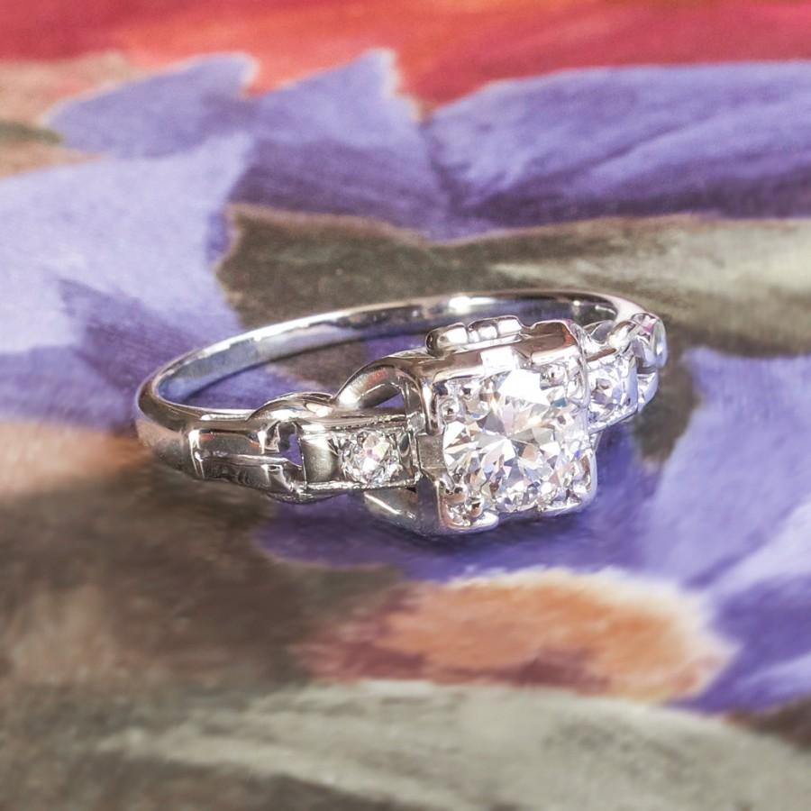 Mariage - Art Deco Vintage 1930's Old Transitional European Cut Diamond Engagement Wedding Anniversary Ring 18k White Gold