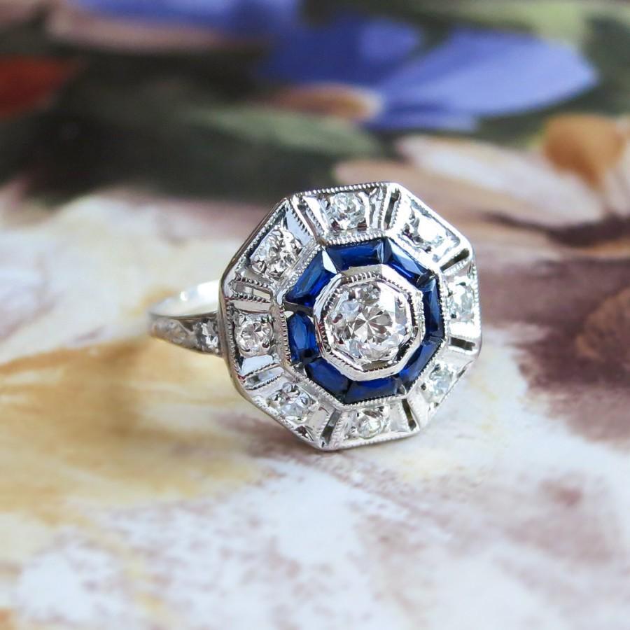 Mariage - Art Deco 1930's Vintage Estate Old European Cut Diamond Lab Sapphire Double Halo Engagement Anniversary Birthstone Cocktail Ring Platinum