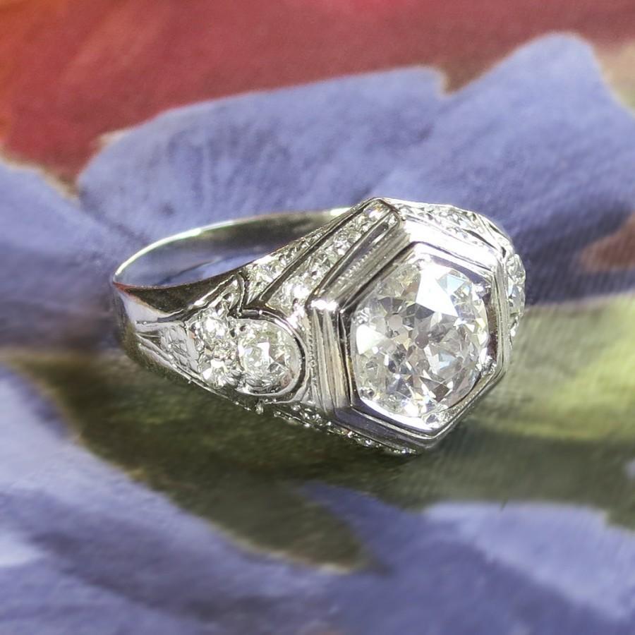 Wedding - Art Deco Vintage 1930's Old European Cut Diamond Engagement Wedding Anniversary Platinum 14k Ring