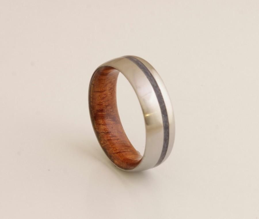 Mariage - WOOD WEDDING BAND lapis ring with Mahogany Wood titanium wedding band mens wedding ring man jewelry woman ring