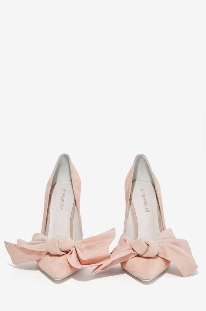Wedding - Jeffrey Campbell Grandame Suede Bow Pump