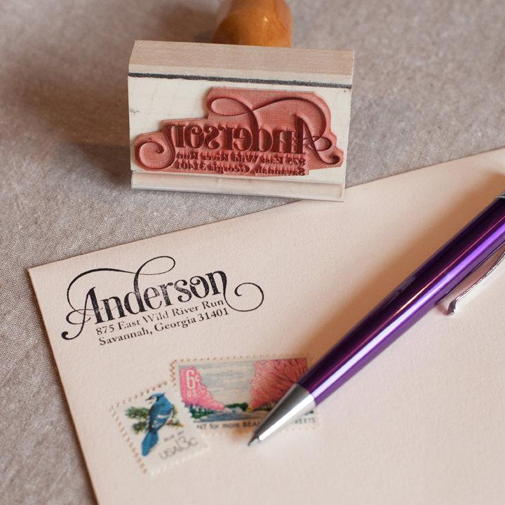 Custom Return Address Stamp SERIF SCRIPT DESIGN With Wood Handle