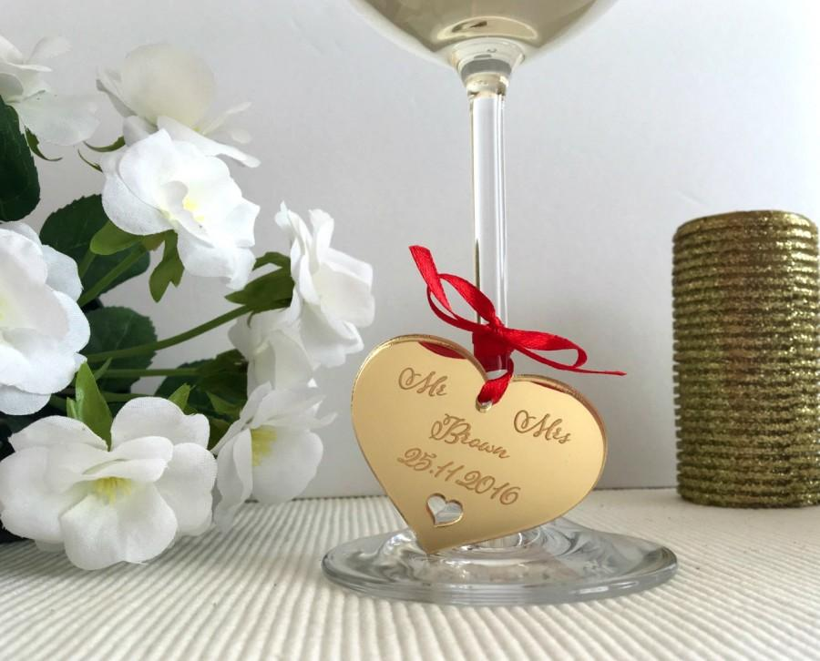 Mariage - Personalised gift tag heart, Custom save the date wedding tags, Wine Glass Charms, Laser cut engraved hearts, Heart Charms, Wedding gift, 01
