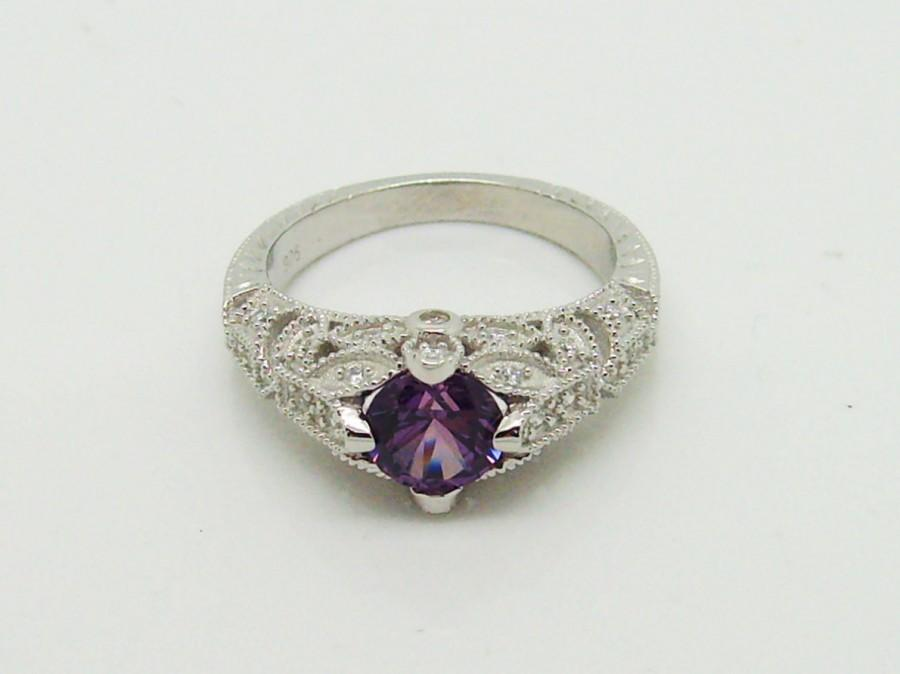 Wedding - Stunning 1ct Alexandrite Ring - Antique Style Sterling Silver Filigree Ring June Birthstone Vintage Art Deco style Color Changing stone