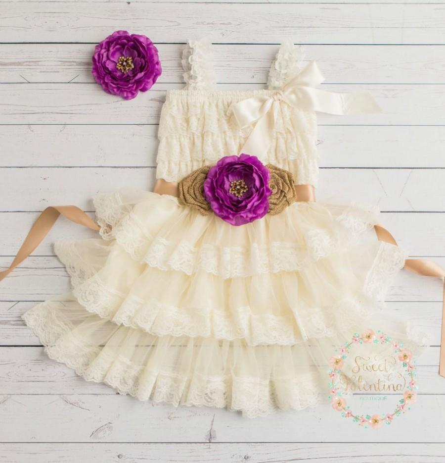 Wedding - Ivory lace flower girl dress, burlap lace flower girl dress,country lace flower girl dress,Champagne lace dress,Junior bridesmaid,baby dress