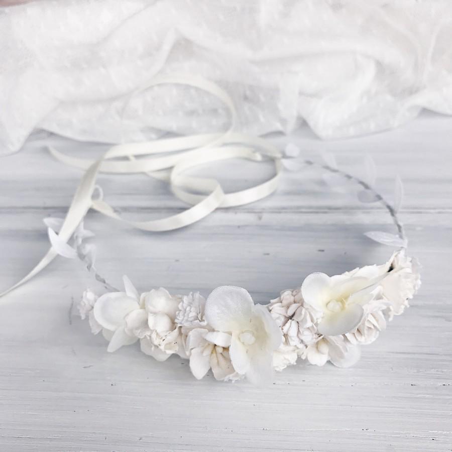 زفاف - White flower crown, Floral crown, Flower girl, bridal floral crown, Bridal flower crown, rustic wedding, Weddings, First Communion