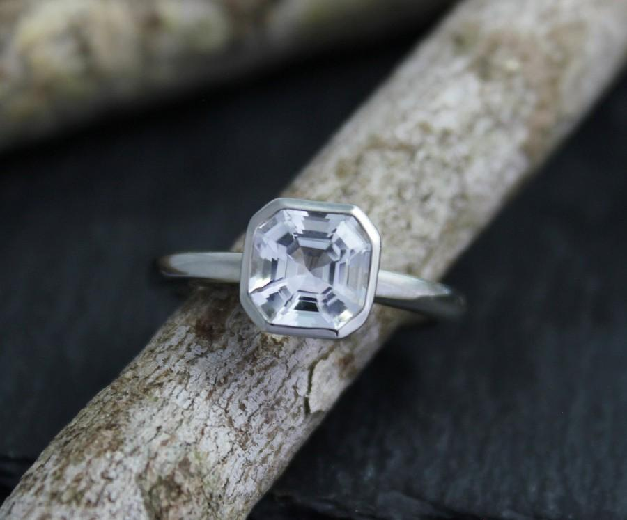 Hochzeit - Asscher Cut White Topaz Ring, Peekaboo Bezel Set Ring, 14k White Gold, Alternative Engagement Ring, Made to Order