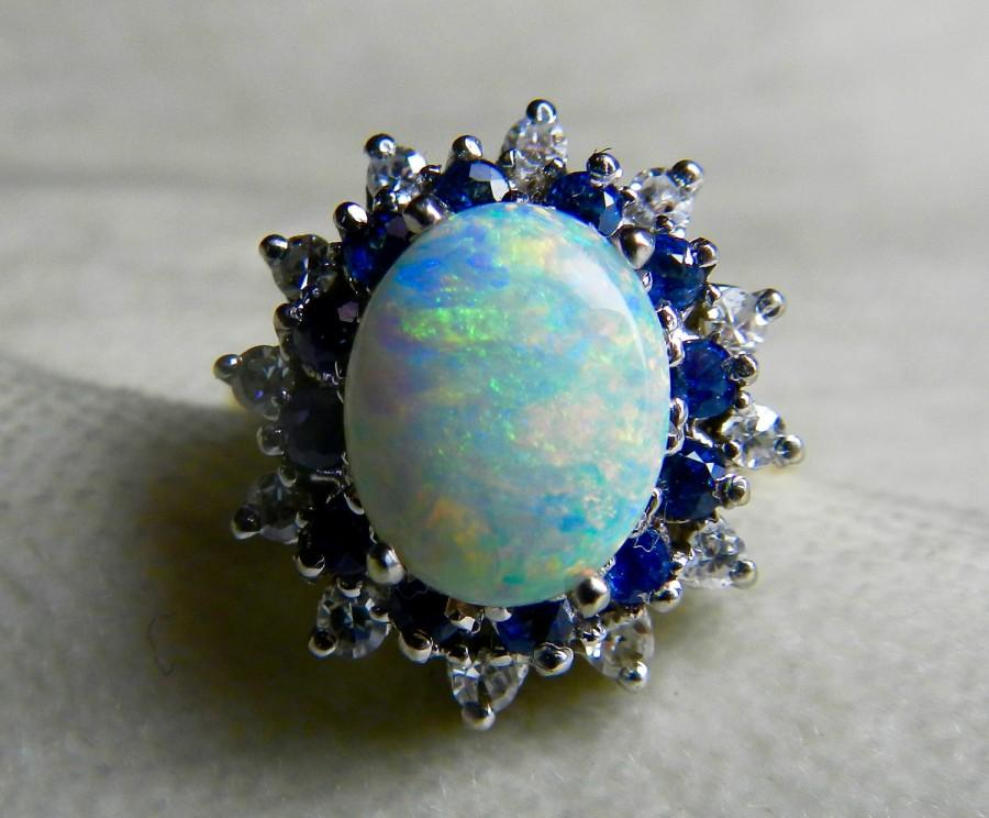 Hochzeit - Opal Ring Opal Engagement Ring 1.65 carat Australian Opal Ring Colorful Opal 0.40cttw Diamond Halo 0.60cttw sapphire halo 14k white gold