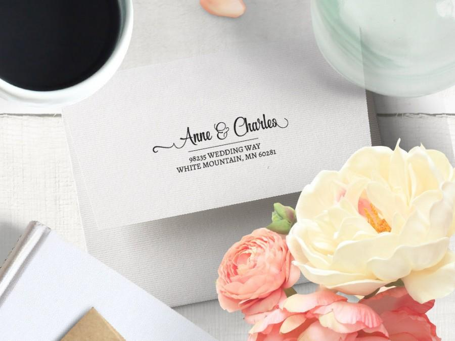 Hochzeit - Wedding Address Stamp, Custom Calligraphy Wedding Address Labels, Wedding Items, Couples Formal Wedding Invitation Self Ink Stamper 52