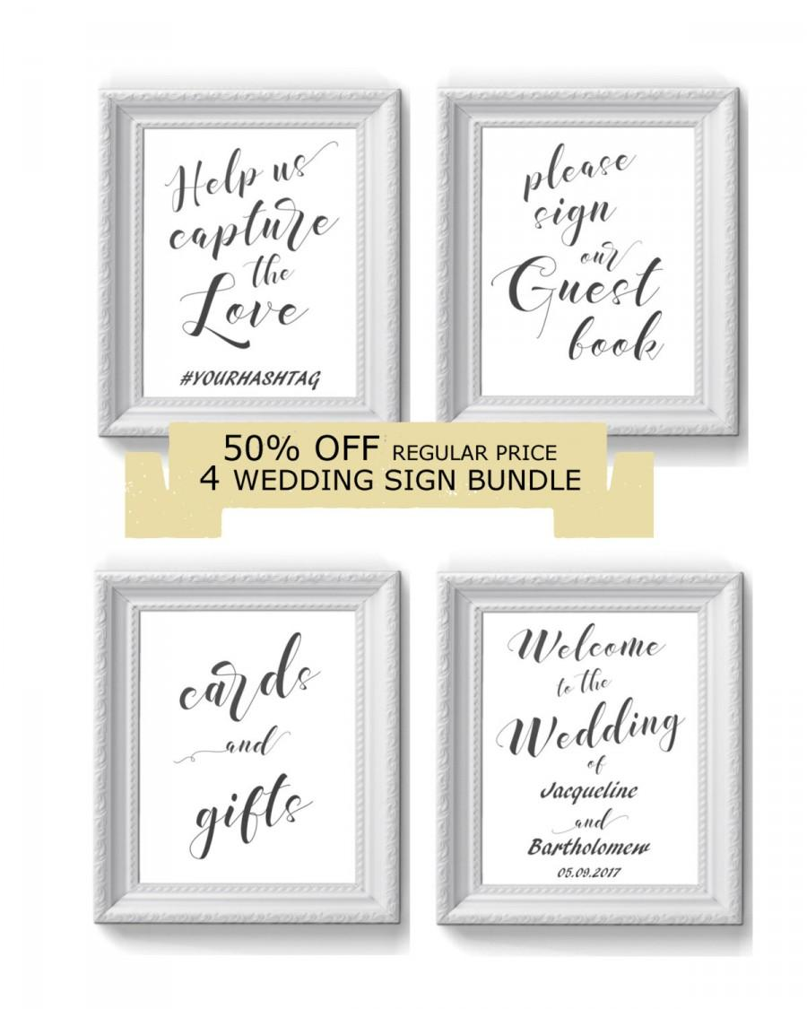 Düğün - Sales 50% OFF DIY Wedding Sign Printable Bundle, Printable sign, Sign template, Editable sign, Digital Instant Download,  #1CM WS-1