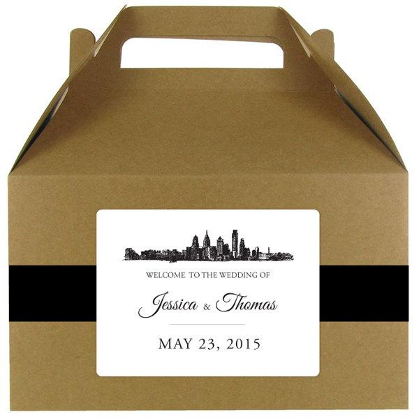Hochzeit - Skyline stickers for wedding welcome bags or gable boxes; available in any skyline; COMPLETELY CUSTOMIZABLE