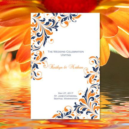 "Hochzeit - Wedding Program Template ""Kaitlyn"" Navy Blue & Orange Printable Order of Service Word.doc Instant Download Make Your Own Program DIY U Print"
