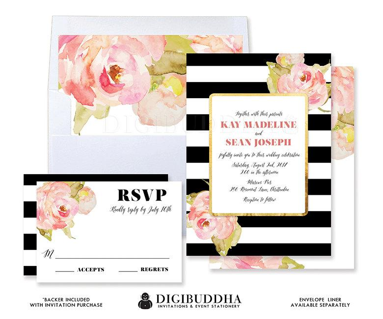Wedding - WEDDING INVITATION SUITE Wedding Invites Wedding Invitation Set 2 Pc RsVP Wedding Invitation Printable or Printed Invites Black + White- Kay