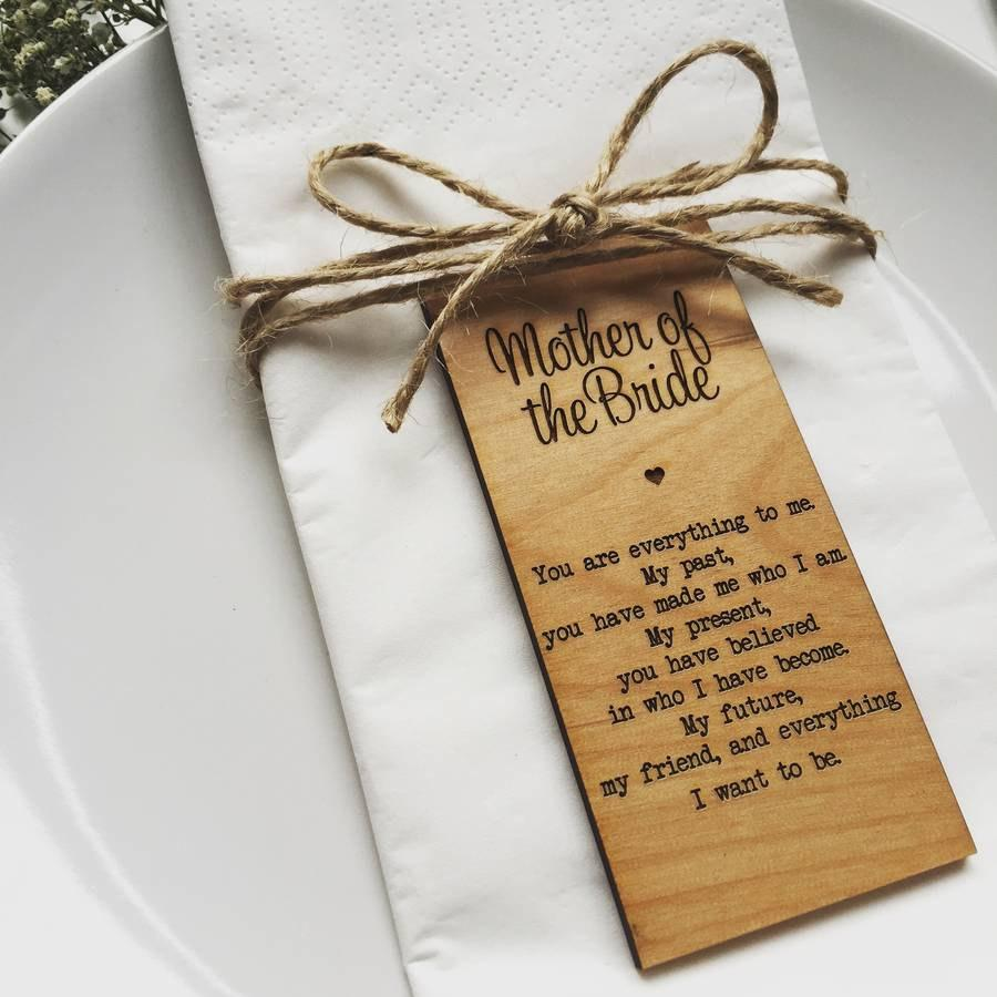 Wedding - Mother Of The Bride Wooden Place Setting