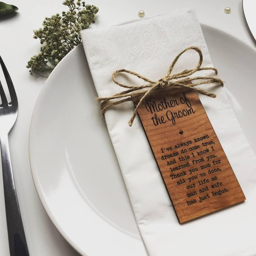 Wedding - Mother Of The Groom Wooden Place Setting