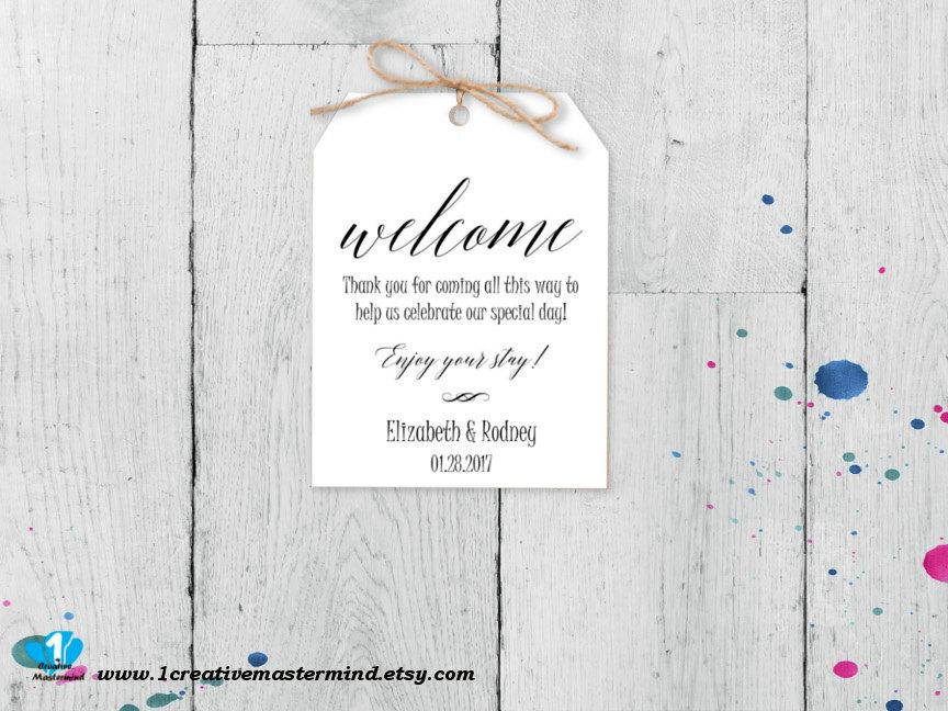 Hochzeit - DIY Wedding Welcome Bag Tag, Welcome Bag label, Printable Wedding tag, Digital Instant Download, Editable Template, #1CM TG-1