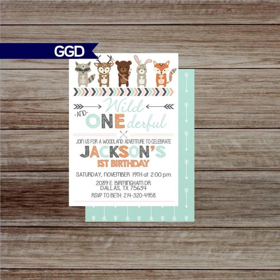 Woodland 1st Birthday Party Invitation, Wild One Invite, Woodland ...