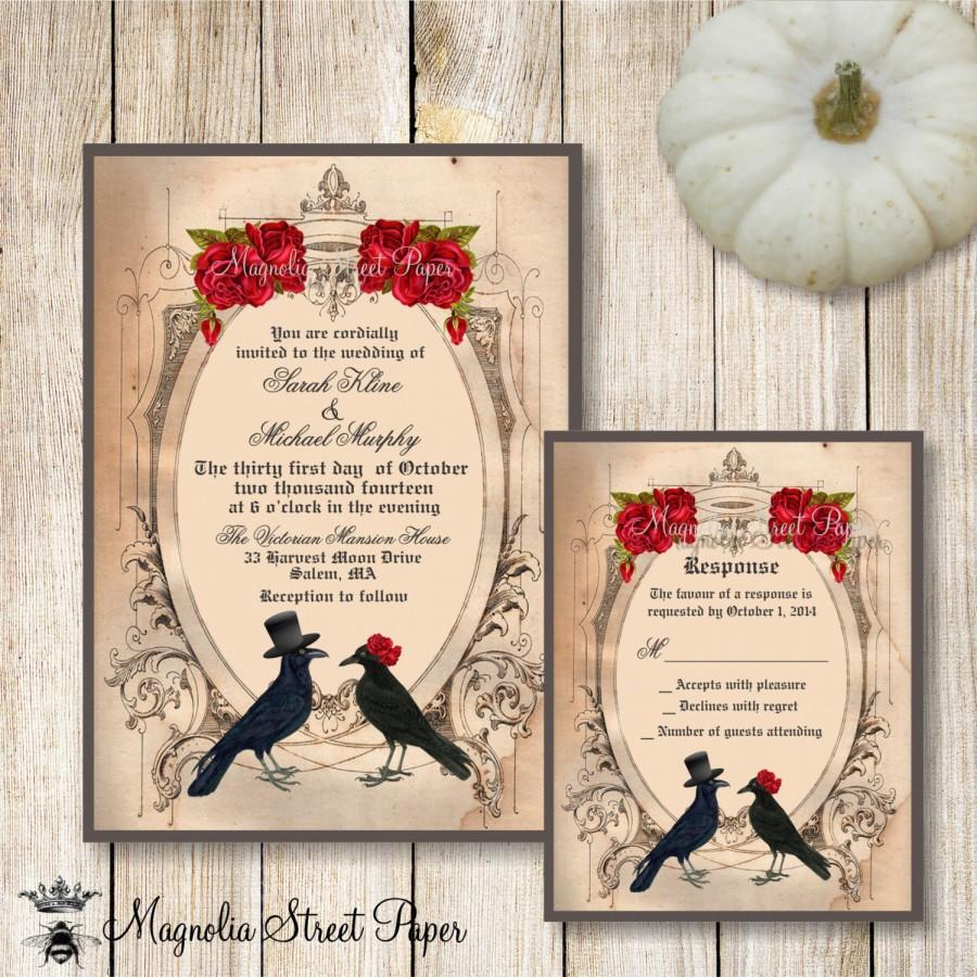 Wedding - Halloween Wedding Invitation, Goth Wedding Invite, Crow Wedding Invitation, Raven Wedding Invitation, Printable Wedding Invite and RSVP