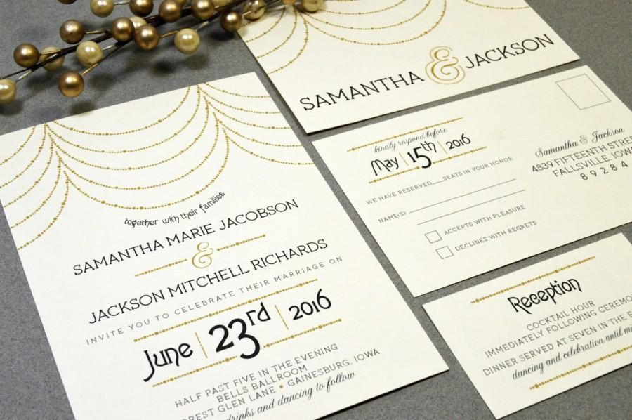 Wedding - Hanging Lights Wedding Invitations Roaring Twenties Invite Set Gold and Black Pocket Suite RSVP Postcard Art Deco Wedding Invitation Vintage