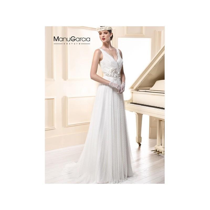 Wedding - Vestido de novia de Manu García Modelo MG0634 - 2015 Evasé Pico Vestido - Tienda nupcial con estilo del cordón