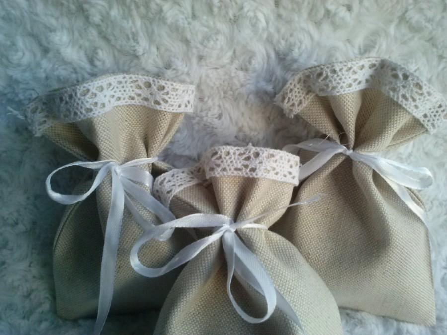 Mariage - Wedding Bags, Set of 3 - Wedding Favor Bags White Linen Favor Bags, Linen Favor Bags Lace Favor Bags, Christening Favor, Baby Shower Gift