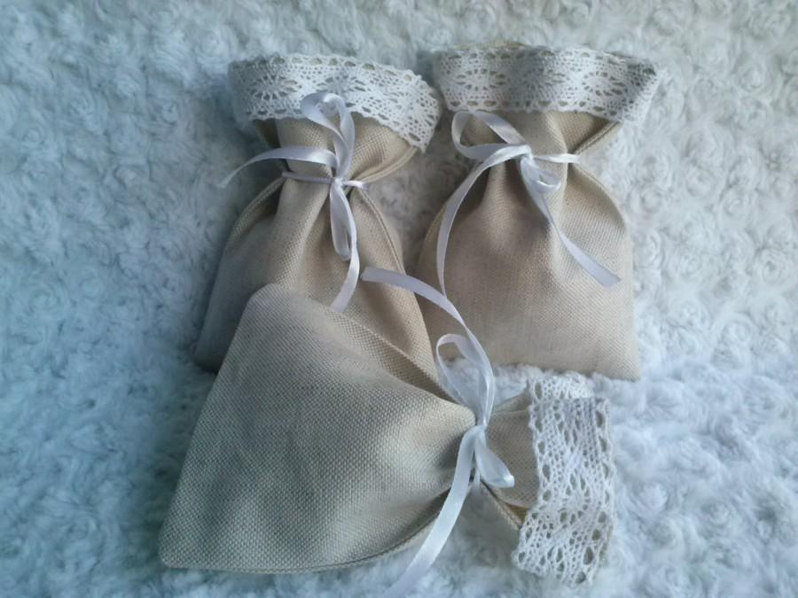 Wedding - Wedding Bags, Set of 3 - Wedding Favor Bags White Linen Favor Bags, Linen Favor Bags Lace Favor Bags, Christening Favor, Baby Shower Gift