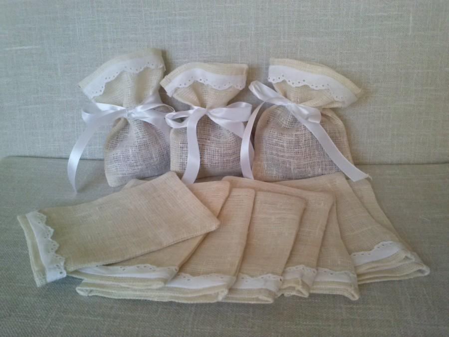 Boda - Set of 10 - Wedding Favor Bags Couture,  Linen Favor Bags Lace Favor Bags, Christening Favor, Baby Shower Gift, Candy Buffet Bags, Burlap