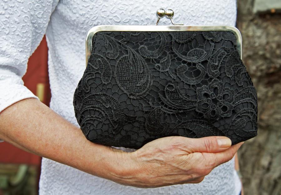 Hochzeit - Black Lace Bridal Clutch, Mother of the Bride Satin Wedding Purse, Lace Bridesmaid Clutch, Eight inch Frame,