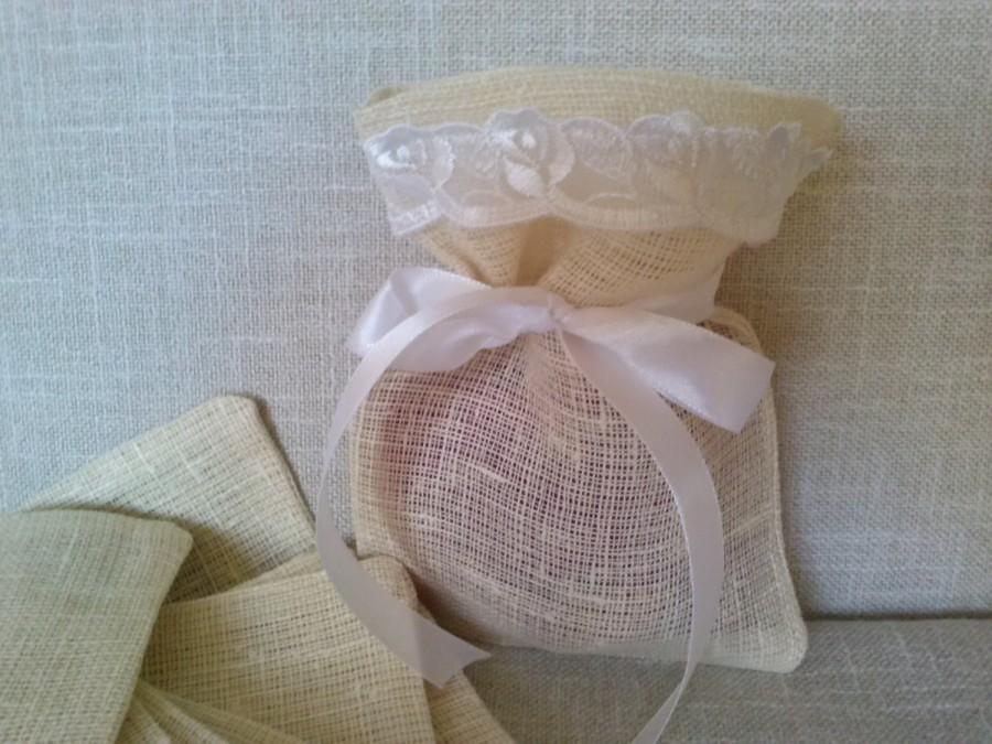 Set Of 10 Wedding Favor Bags Couture Linen Lace Christening Baby Shower Gift Candy Buffet Burlap