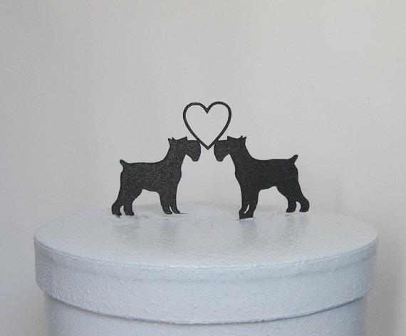 Mariage - Wedding Cake Topper - Schnauzer  Dogs Topper