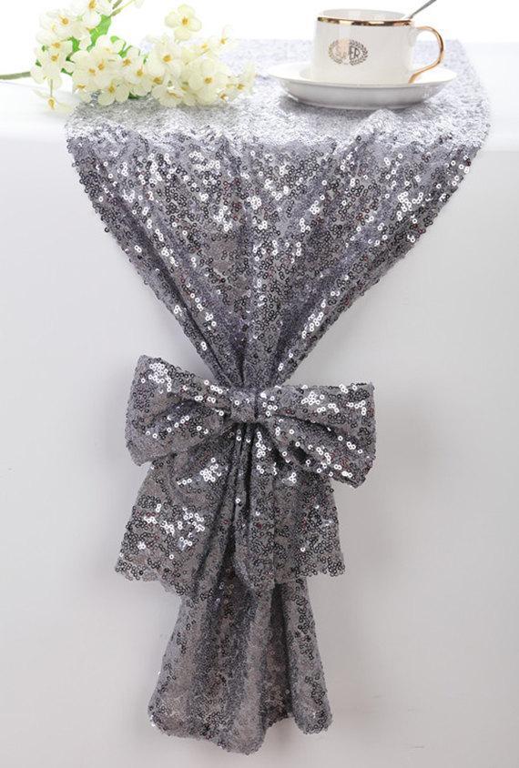 Mariage - Sequin Table Runner Silver Grey, Sparkle Table Runner, Bling Table Runner, Wedding Table Runner, Custom Table Runner