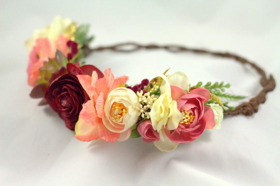 Mariage - Winter Blush and Gold Floral Crown