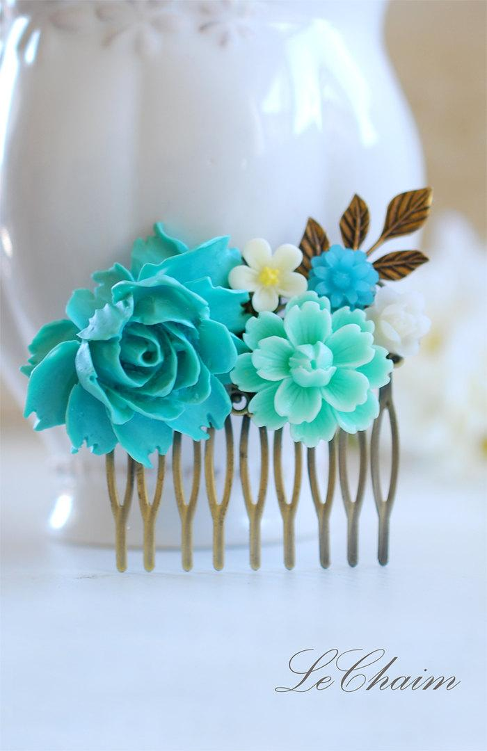 Düğün - Turquoise Blue Wedding Bridal Hair Comb,  Blue and Ivory Flowers Brass Leaf Filigree Collage Hair Comb, Bridal Wedding Hair accessory