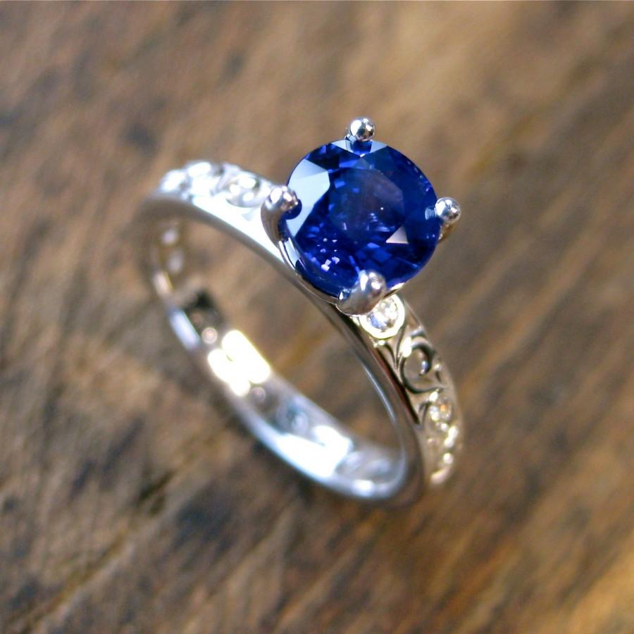 Hochzeit - Blue Ceylon Sapphire Engagement Ring in 14K White Gold with Diamonds as Accent Stones in Scrolls Size 5