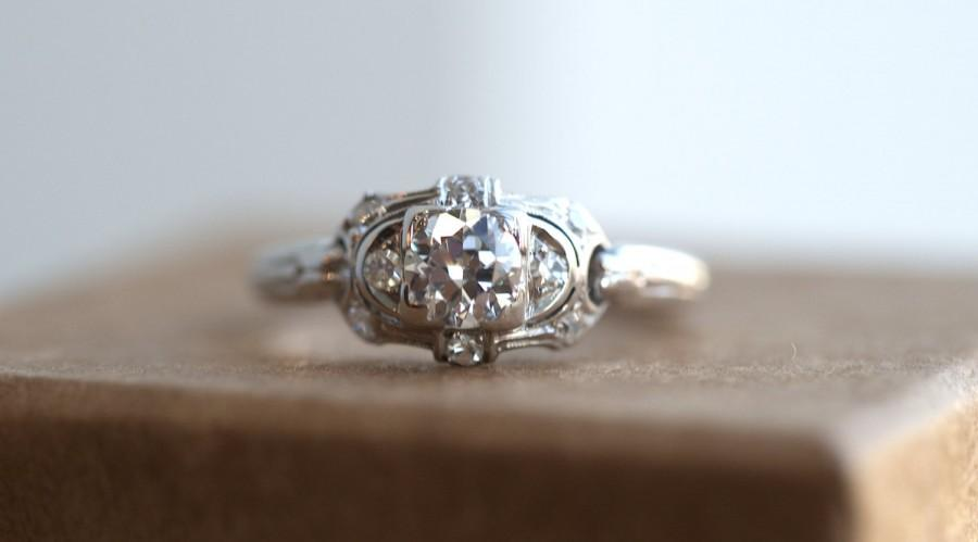 Wedding - Art Deco 18K White Gold Engagement Ring with .61ct total weight with Old European Cut Diamond Center Stone and Old Single Cut Sides