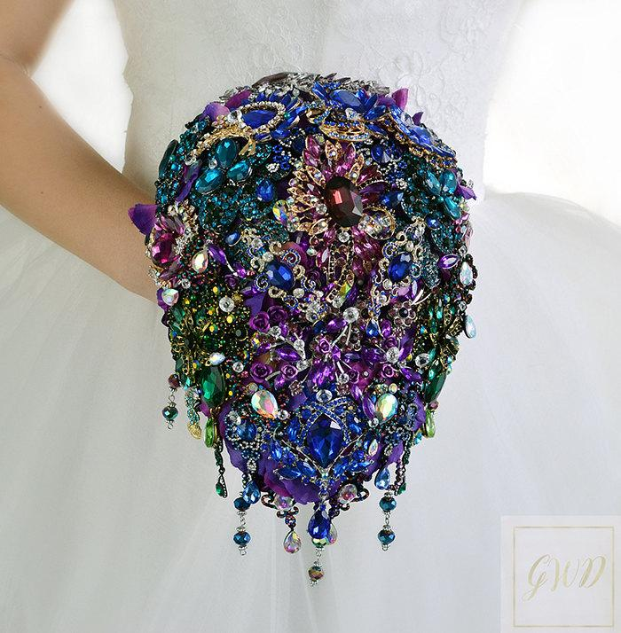 Wedding - Purple Blue Wedding Bouquet Purple Bridal Bouquet Purple Brooch Bouquet Crystal Bouquet Rhinestone Bouquet Wedding Jewelry Wedding Dress