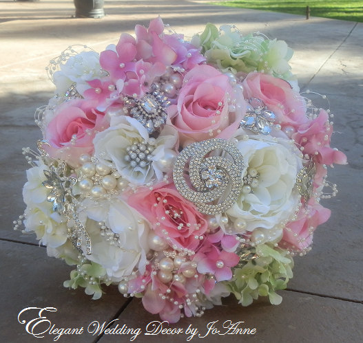 Wedding - SIMPLE ELEGANT Jeweled Wedding Bouquet, Deposit for Simple GLAM Brides Bouquet, Silk Flower Bouquet, Jeweled Bouquet, Deposit Only