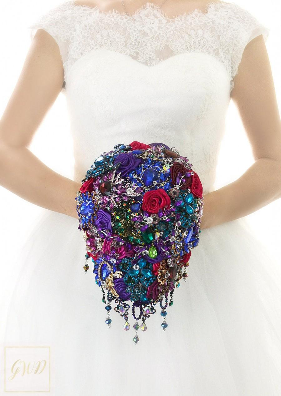 Mariage - Bridal Bouquet Brooch Bouquet Wedding Bouquet Dress Wedding Crystal Bridesmaids Bouquet Cascading Bouquet Wedding Purple Jewelry Bouquet