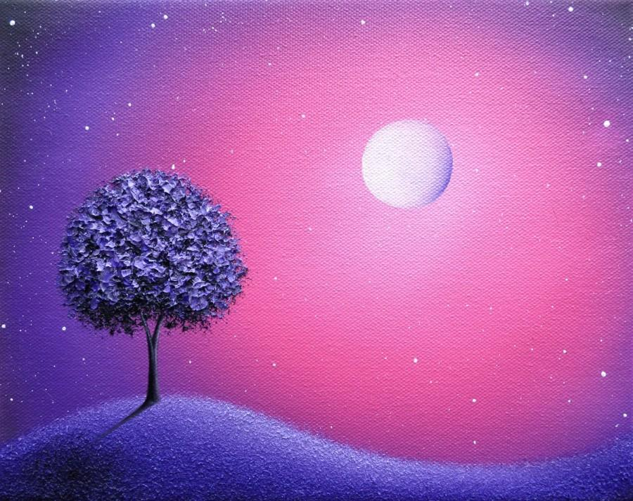 Wedding - ORIGINAL Purple Tree Painting, Purple Oil Painting, Abstract Art on Canvas, Pink Starry Night Sky, Moon Dreamscape, Impasto Landscape, 8x10