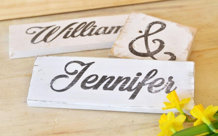 Düğün - CUSTOM WEDDING SIGN - Personalized Name Bride and Groom Set Shabby Chic Wooden Sign Set Antique Vintage Wood Signage Gift Rustic Decor