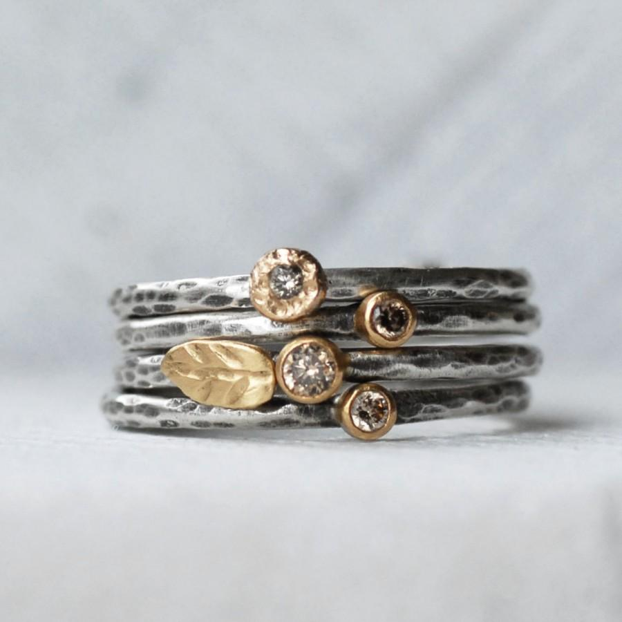 Wedding - Tiny Diamond Leaf Ring Set - Natural brown Diamond 18k Gold and Silver Stack Rings - Set of 4 Diamond Stack Rings - Eco-Friendly Recycled