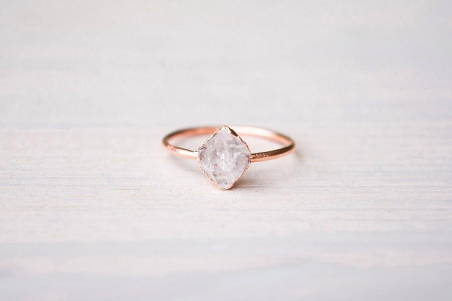 Wedding - Herkimer diamond ring - Herkimer ring - Crystal ring - Raw crystal ring - Crystal quartz ring - Diamond quartz ring - Rough crystal ring
